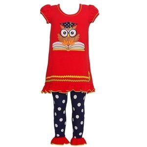 Bonnie Baby Girl Owl School Legging Set Outfit 12M